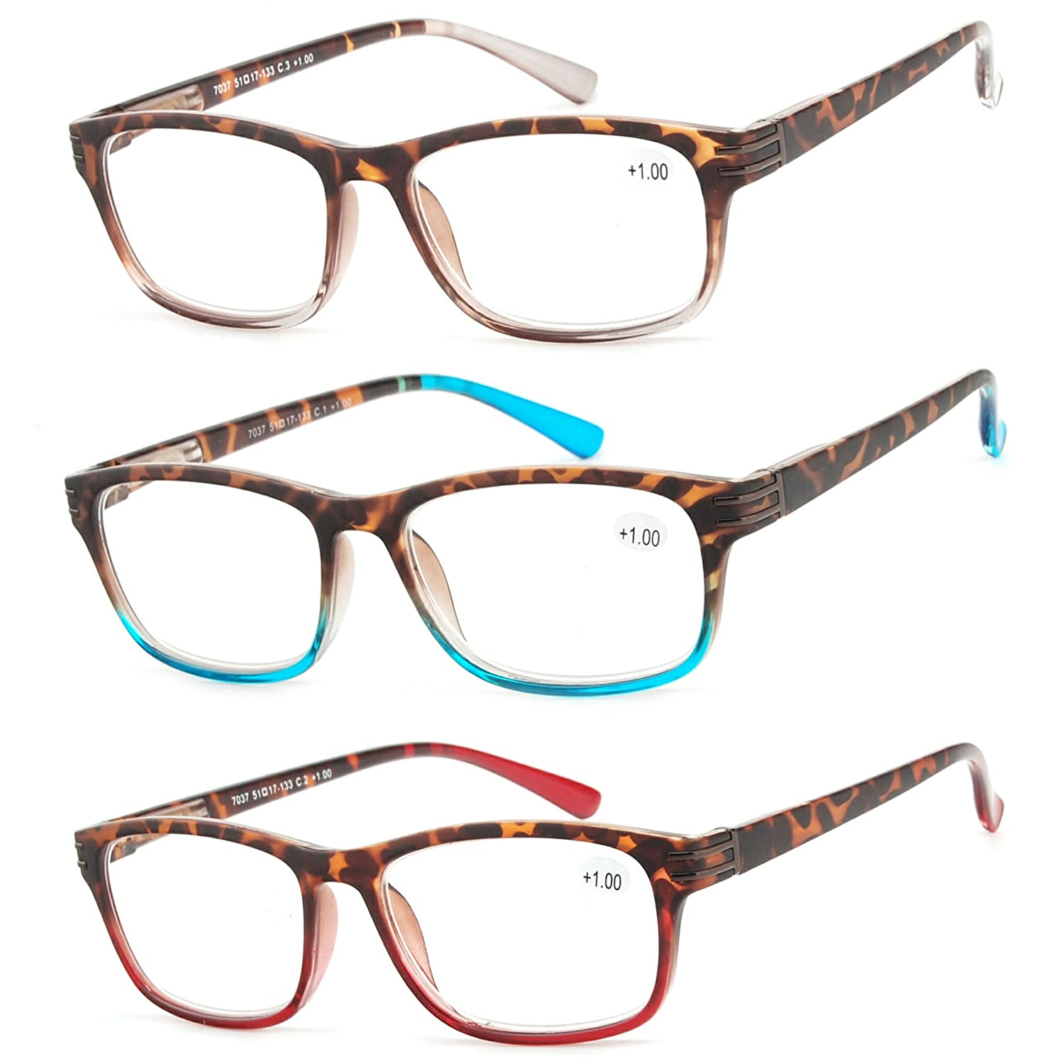 03b149bdf95 Amazon.com  Reading Glasses 3 Pair Great Value Stylish Readers Fashion Men  and Women Glasses for Reading +1  Clothing