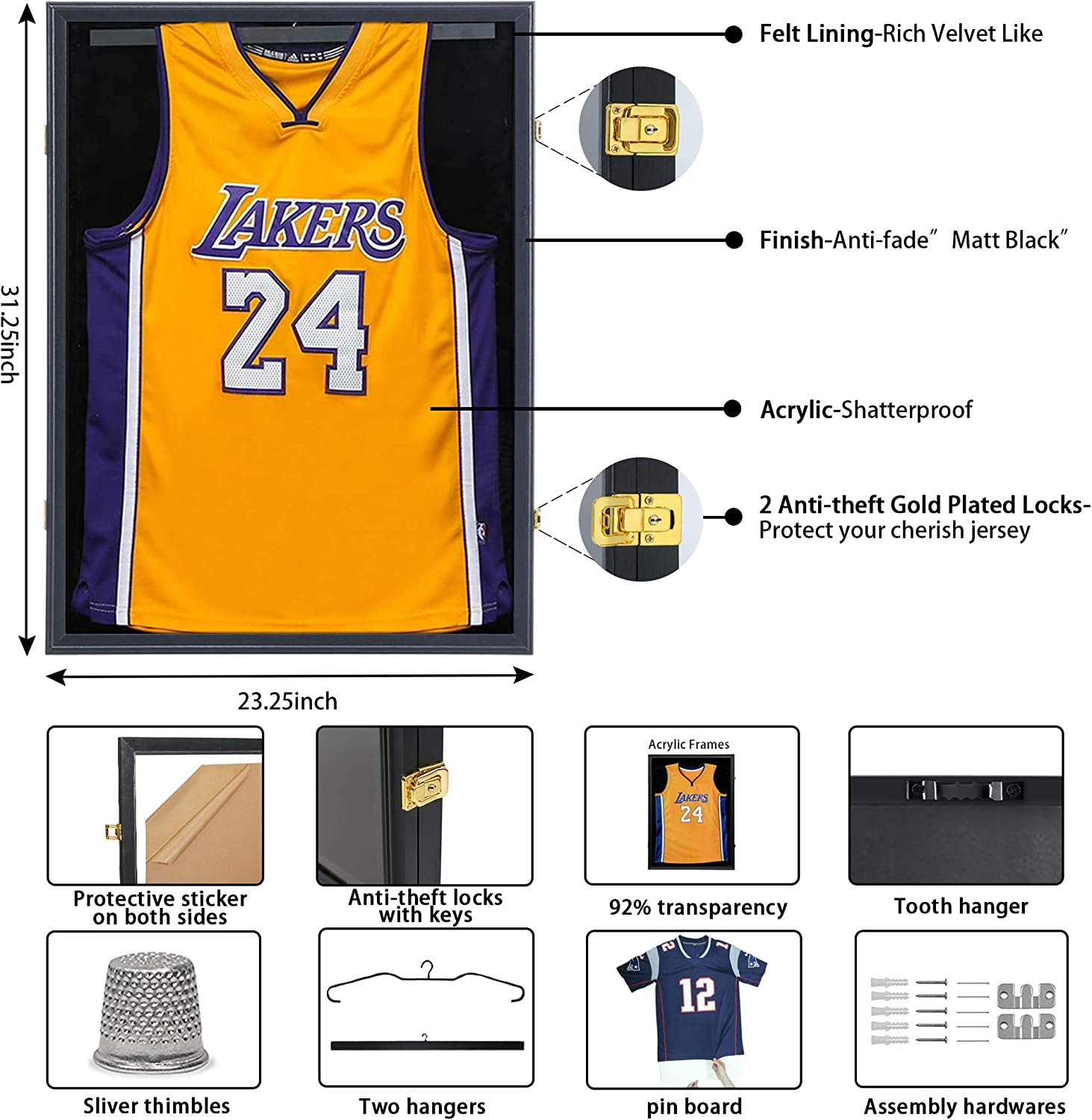 Large Lockable Shadow Box Sports Jersey Frame with 98/% UV Protection Acrylic and 2 Hanger for Baseball Basketball Football Soccer Hockey Shirt Uniform PKaL Jersey Display Frame Case Graduates