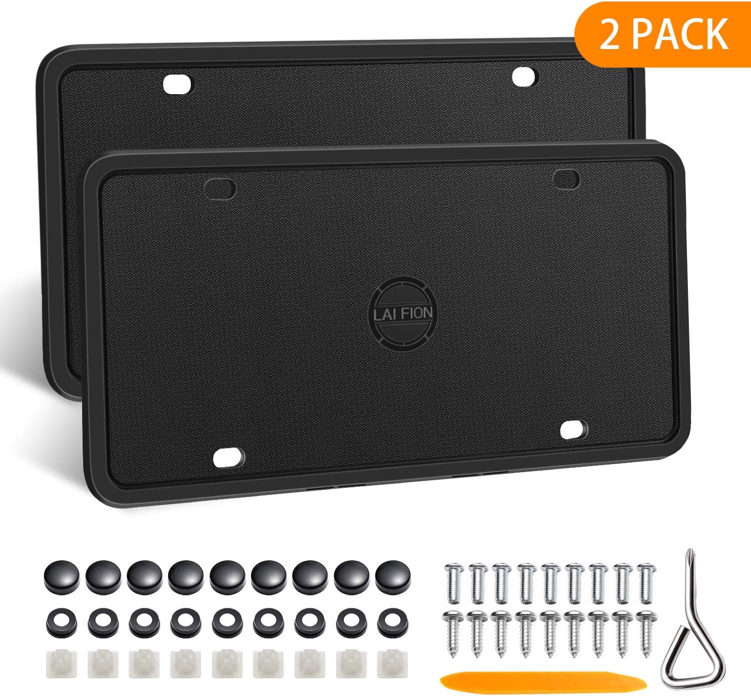 LAI FION Silicone License Plate Frames Stainless Steel Screws 2Pcs 4 Holes Black License Plate Covers Front//Rear Tag Holder Rust-Proof Rattle-Proof Weather-Proof with Black Screw Caps
