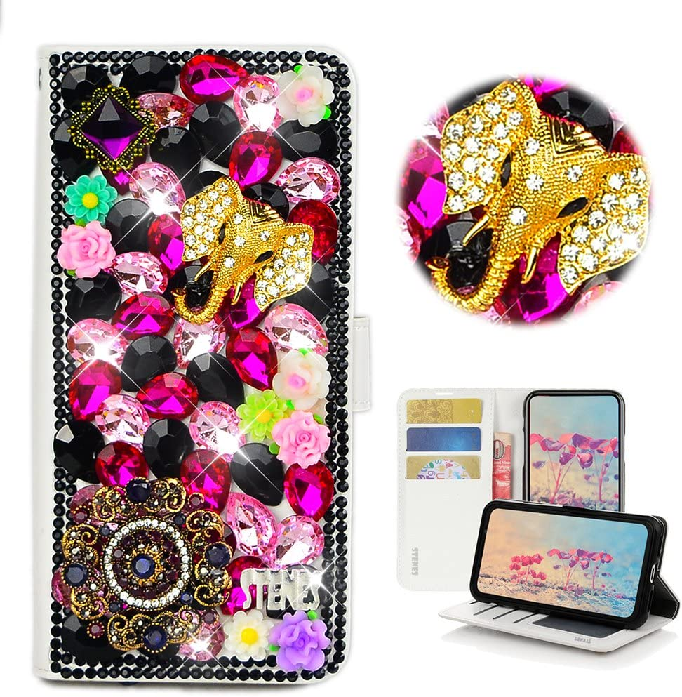STENES Bling Wallet Phone Case Compatible with Samsung Galaxy Note 20 - Stylish - 3D Handmade Elephant Pretty Jewelry Floral Leather Cover with Cable Protector [4 Pack] - Black