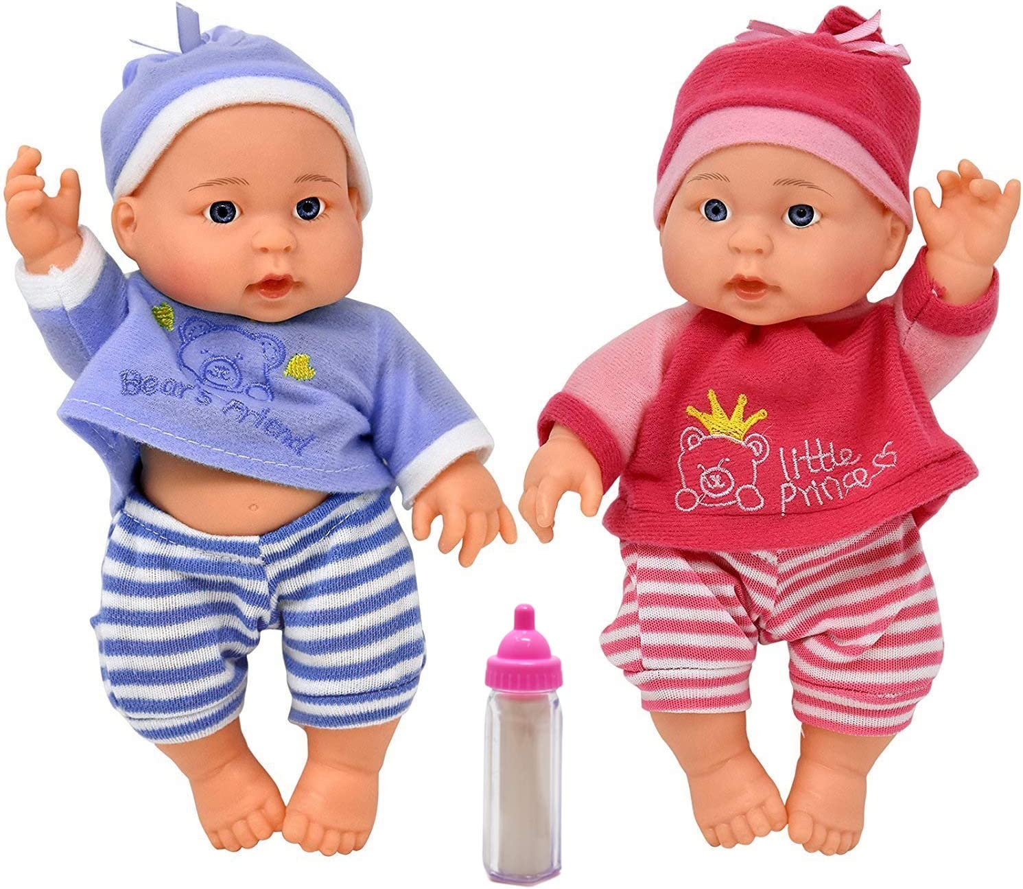 """Kids Baby Doll Twins Set 2 13/"""" Soft Toddler Toy Pretend Boy Girl Gift New"""