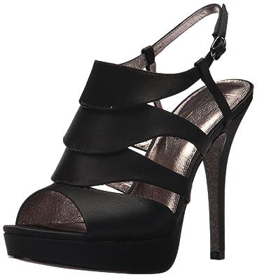 b319f186096 Adrianna Papell Women s Marlene Heeled Sandal Black Satin 10 Medium US