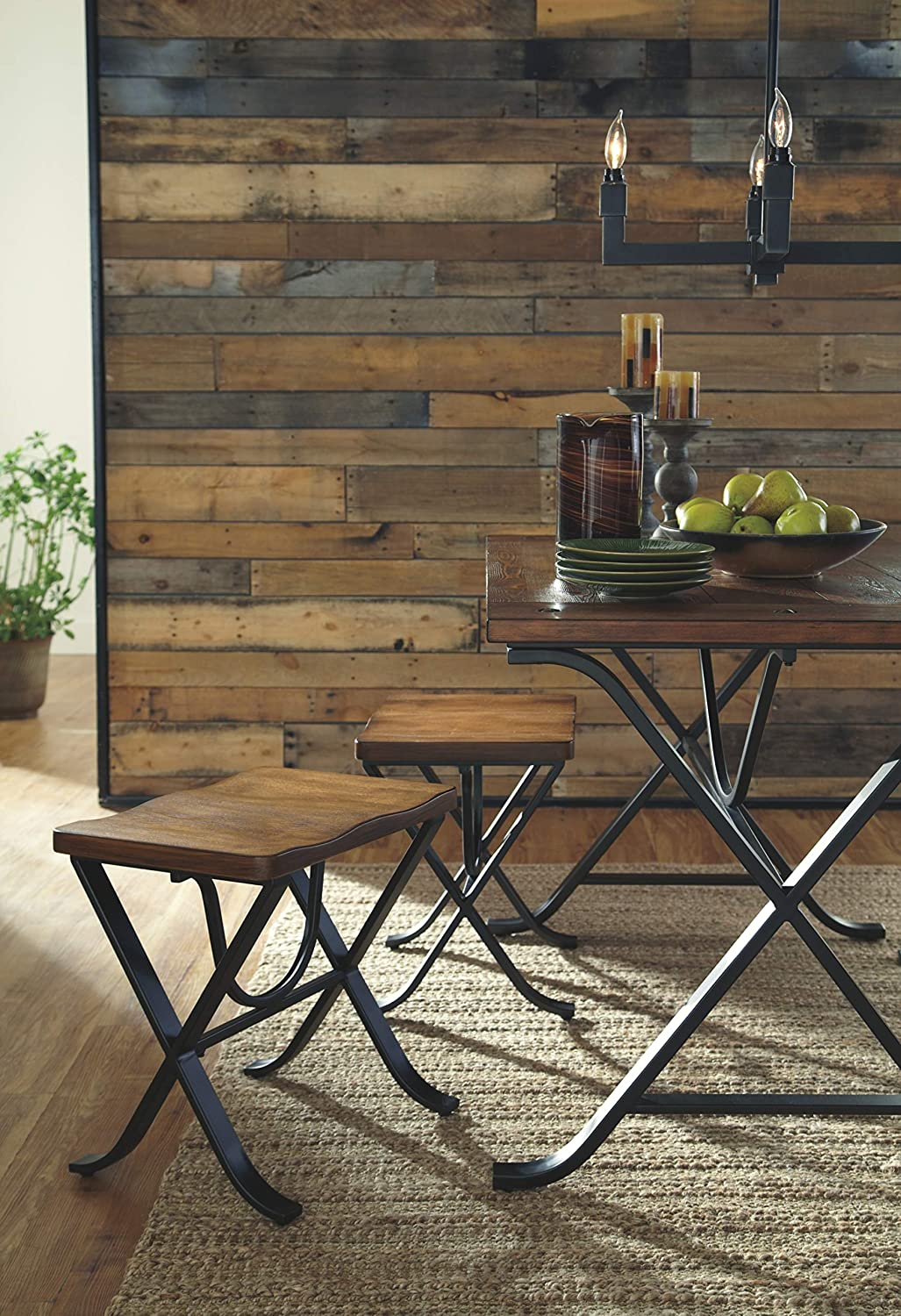 Medium Brown Wood Top and Black Metal Legs Freimore Dining Room Table and Stools Ashley Furniture Signature Design Set of 5