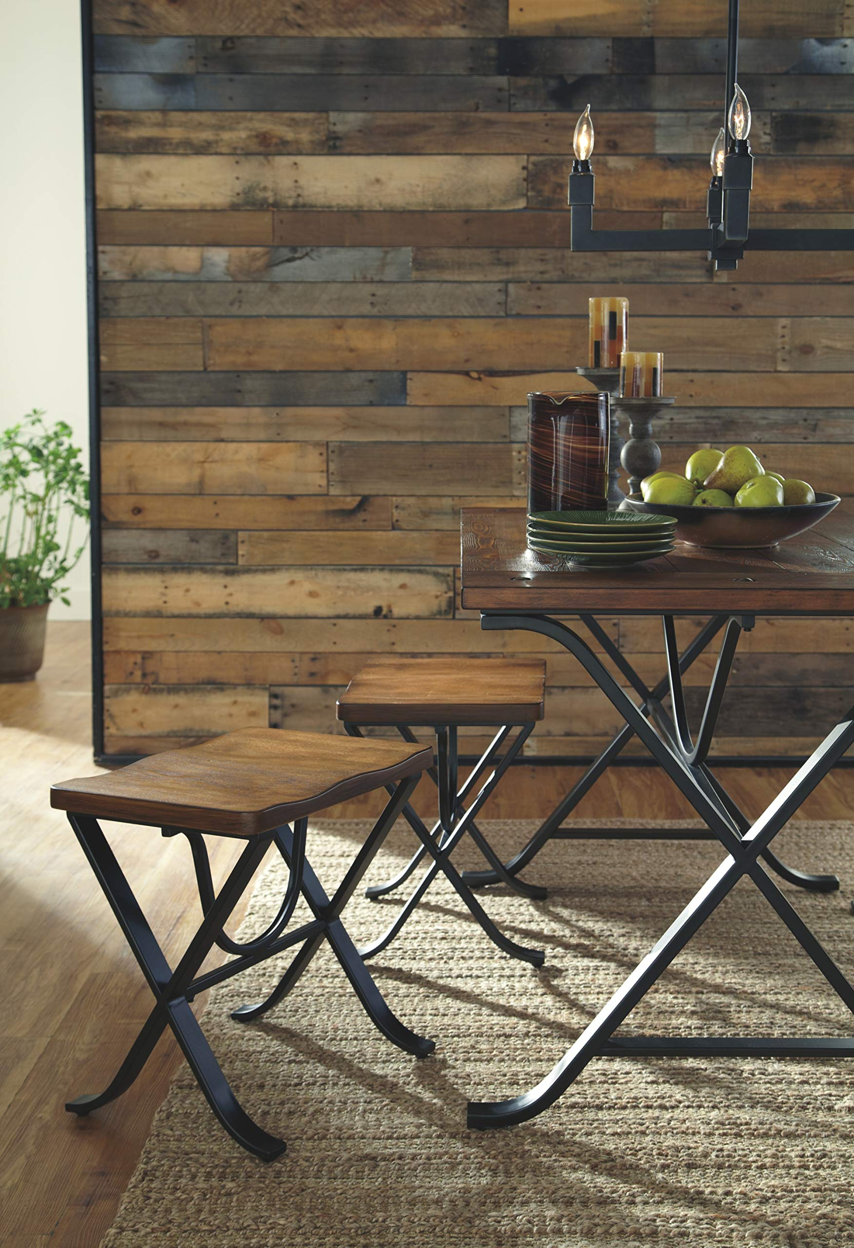 Ashley Furniture Signature Design - Freimore Dining Room Table and Stools - Set of 5 - Medium Brown Wood Top and Black Metal Legs by Signature Design by Ashley (Image #4)