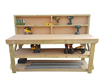 Made From Construction Grade Timber Wooden MDF Workbench With Back Work Table Handmade Strong Heavy Duty 4ft