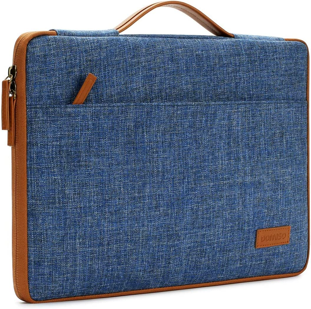 "DOMISO 13 Inch Laptop Sleeve Canvas Notebook Portable Carrying Bag Case Handbag for 13"" MacBook Pro Retina Display / 13"" MacBook Pro / 13.3"" Computers, Blue"