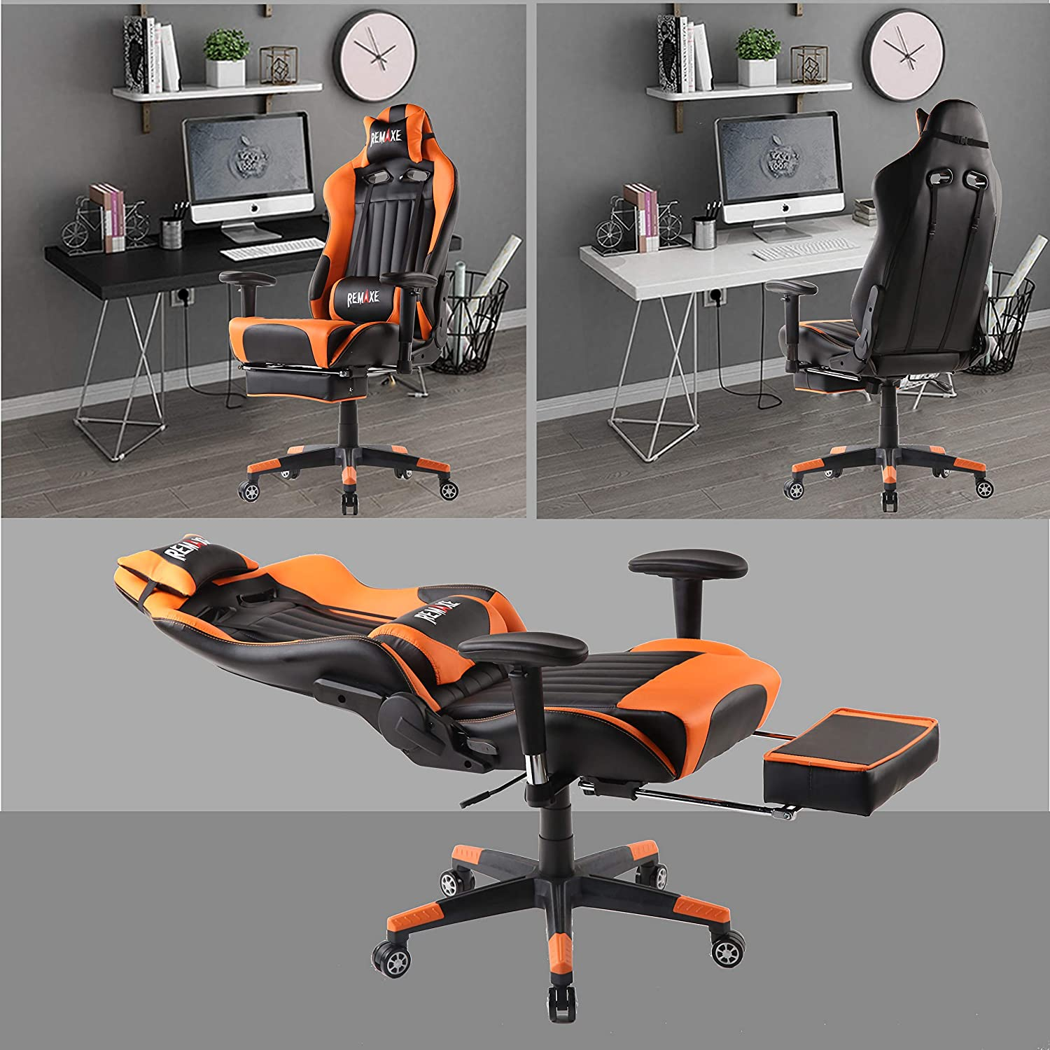 High Back Ergonomic Gaming Chairs PC Gaming Chair Computer Racing Chair Office Chair Desk Chair Video Gaming Chair Swivel Executive Leather Chair with Lumbar Support and Headrest Blue