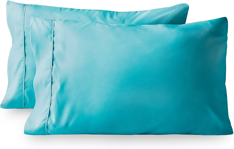 Bare Home Premium 1800 Ultra-Soft Kids Microfiber Pillowcase Set - Double Brushed - Wrinkle Resistant (Standard Pillowcase Set of 2, Aqua)
