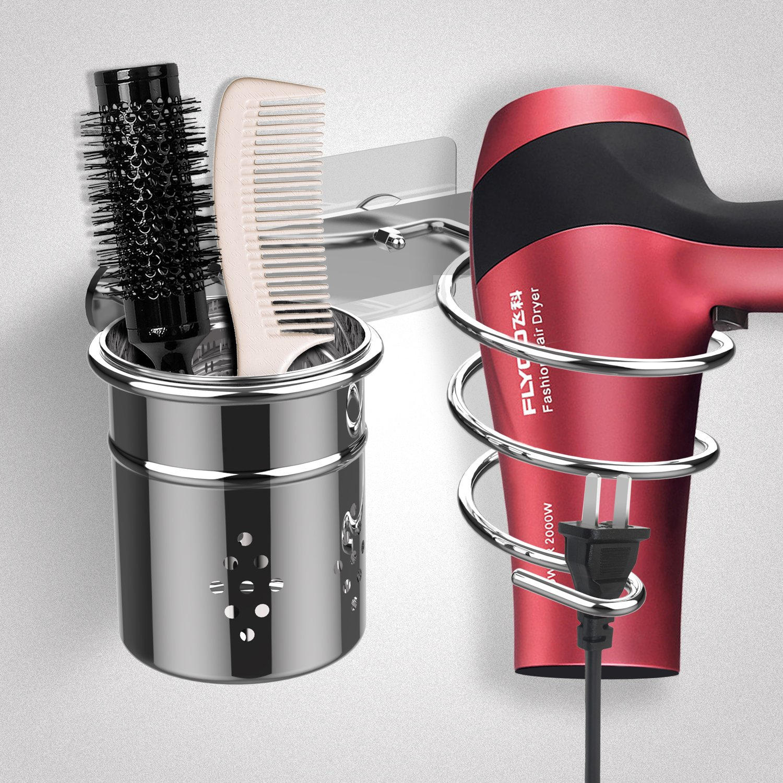 2. F/önhalter Selbstklebende Halterung Haartrockner Halter ohne Bohren EINFAGOOD F/önhalter Edelstahl Edelstahl Gl/änzend Poliert