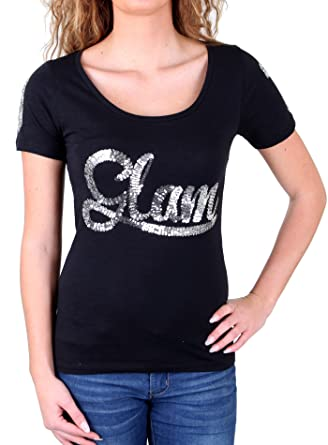 6ade8a0e98b18d Madonna T-Shirt Damen PATTY Wide Neck Glam Pailletten Shirt MF-407012   Amazon.de  Bekleidung