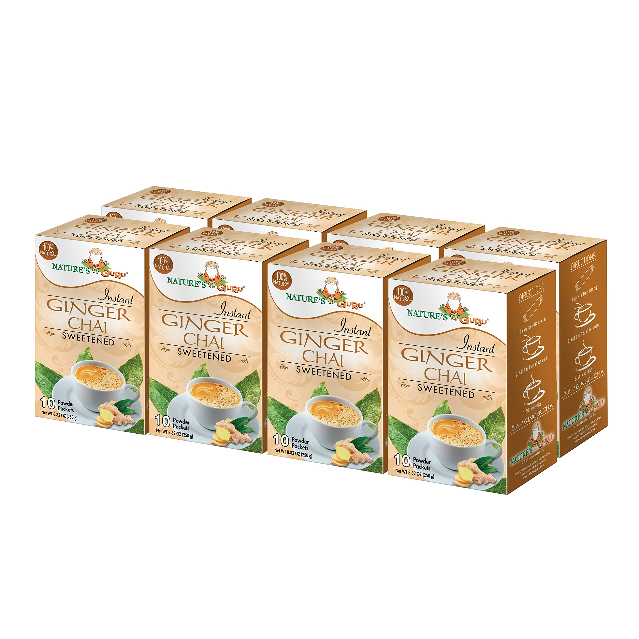 Nature's Guru Instant Ginger Chai Tea Drink Mix Sweetened 10 Count Single Serve On-the-Go Drink Packets (Pack of 8)