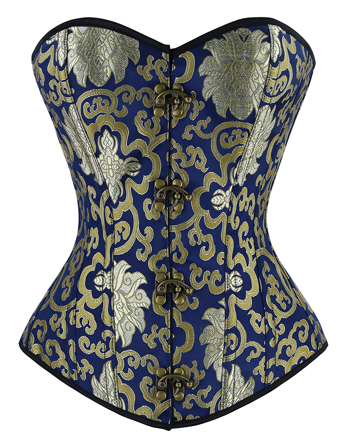 Charmian Women's Vintage Spiral Steel Boned Embroided Boby Shaper Corset Top CA0004328