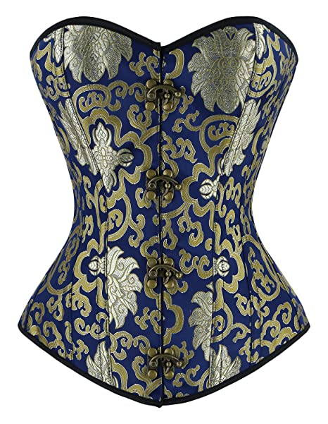 9a7573295b2 Charmian Women s Steampunk Vintage Spiral Steel Boned Embroided Pattern  Boby Shaper Overbust Corset Top Gold