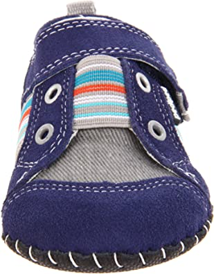 """Pediped /""""Jones/"""" Grip n Go toddler boy/'s sneaker style shoe in navy and white"""