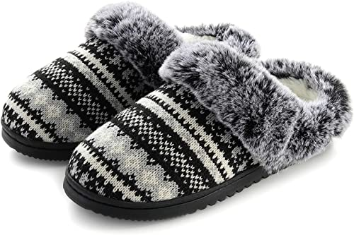 Women/'s Cozy Fur Lined Fluffy Slip On House Soft Indoor Outdoor Slippers
