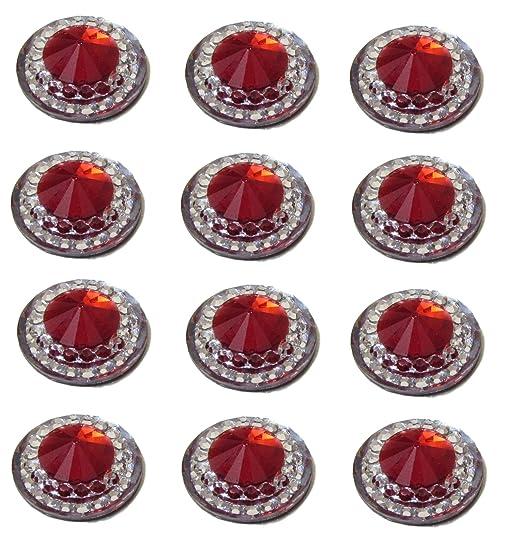 40 X Autoadhesivo Rojo Rubí Redondo Diamantes Acrílico Stick