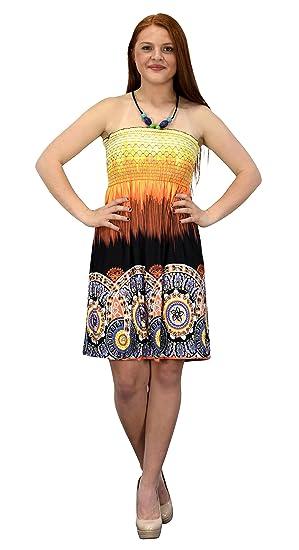 2c77505287 Peach Couture Juniors Boho Print Smocked Bodice Beaded Neck Midi Dress  (Orange Black M)
