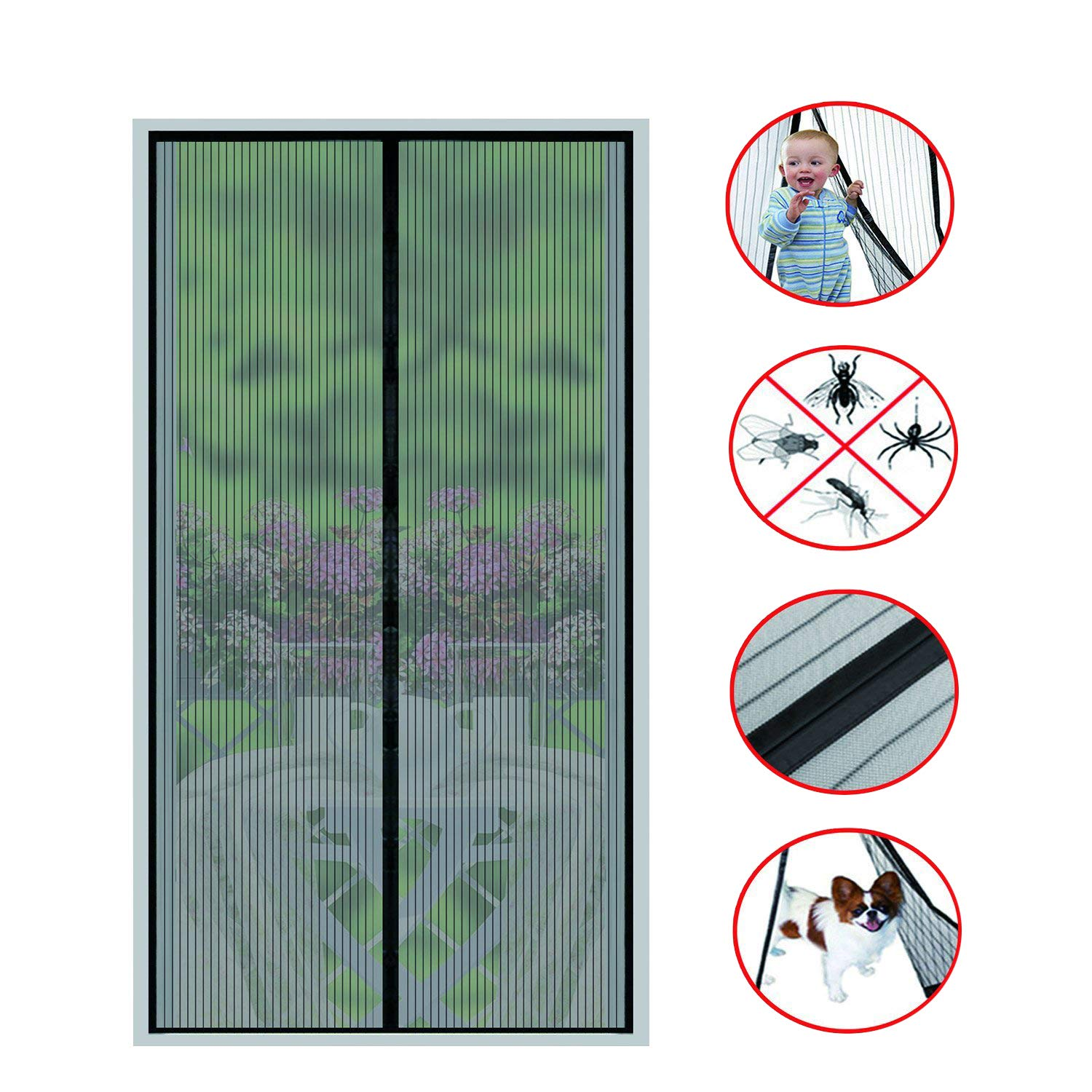 Magnetic Screen Door(2018 NEW)-26 Strong Magnets-Full Frame Magic Adhesive-Easy Open and Close Design-Fresh Air In-Keep Mosquitoes Out-Pet Friendly-Hands Free-Fits Door Size up to 34 X 82 Inches