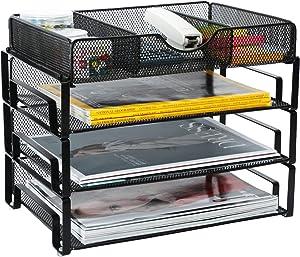 Samstar Stackable Letter Tray, 3 Tier Desk File Organizer Paper Sorter with 1 Extra Drawer Mesh Made,Black