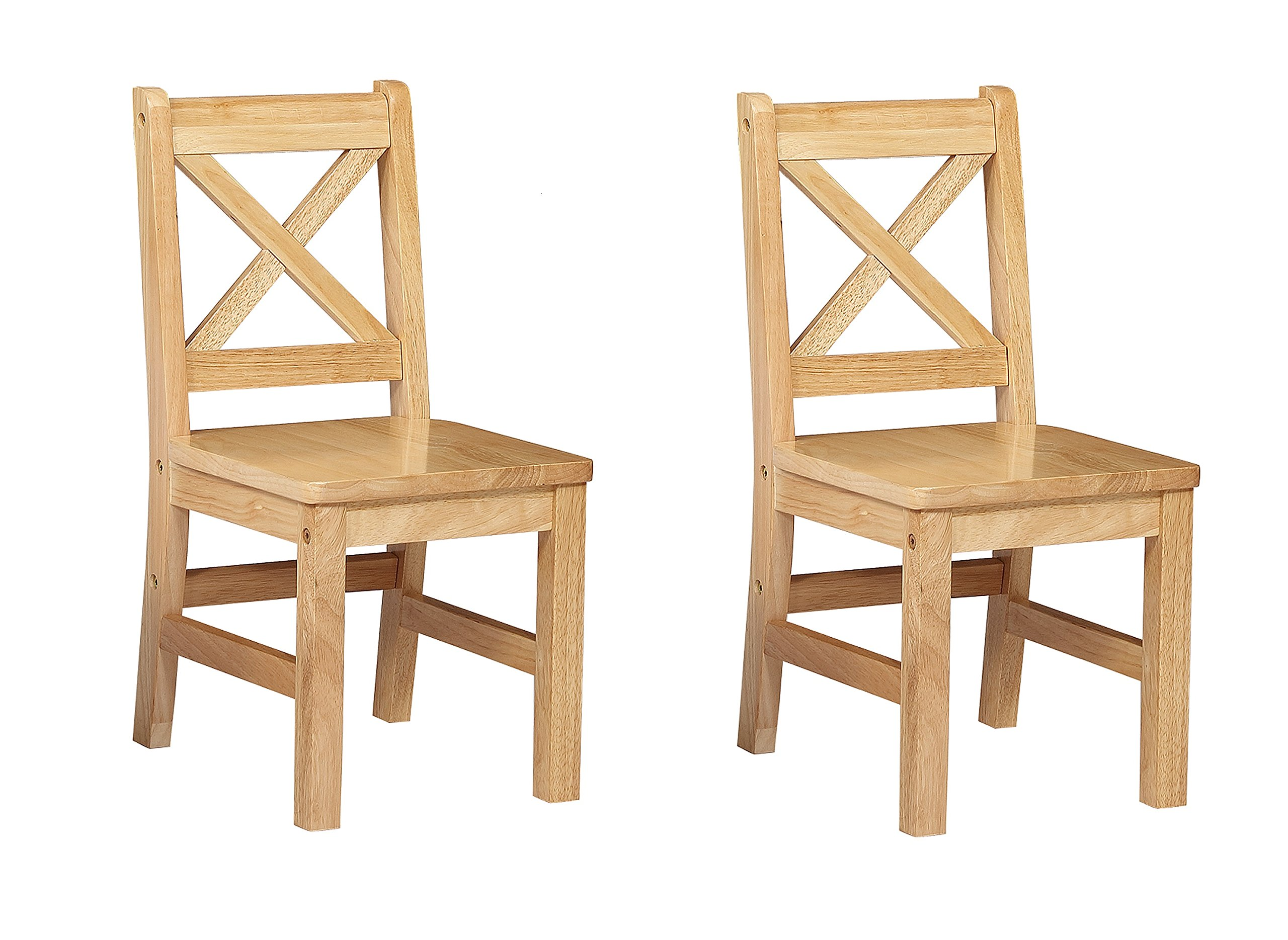 eHemco Solid Hard Wood X Back Kids Chair, Set of 2 (Natural)