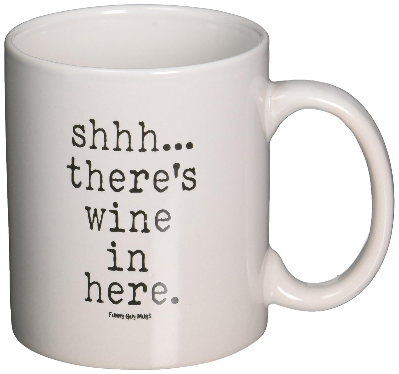 amazoncom funny guy mugs shhh thereu0027s wine in here ceramic coffee mug white 11ounce kitchen u0026 dining
