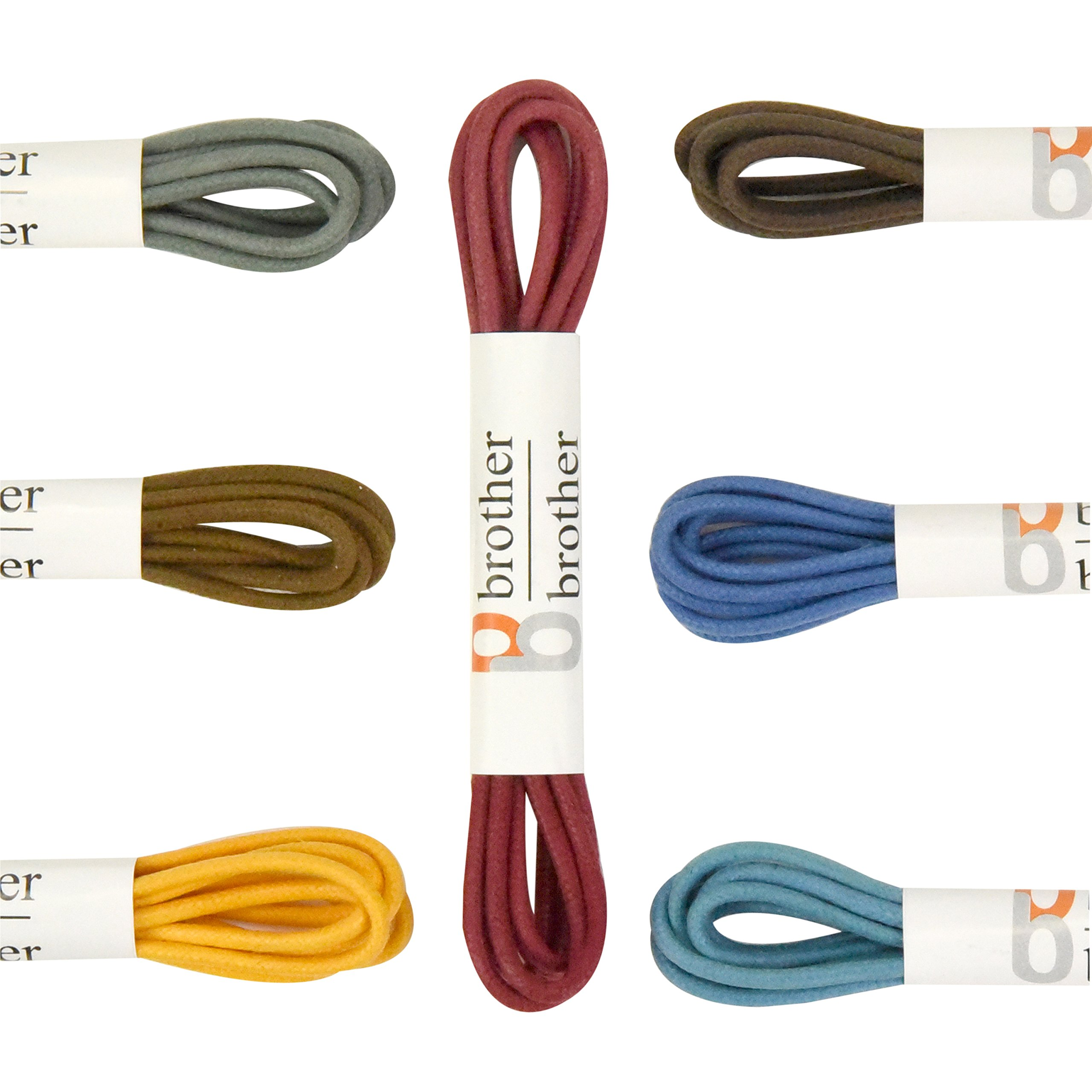 Brother Brother Colored Oxford Shoe Laces for Men (7 Pairs) | 100% Cotton Round and Waxed Shoelaces for Dress Shoes | Gift Box with Brown, Silky Violet, Burgundy, Mustard, Blue, Light Blue, Chocolate by brother brother (Image #5)