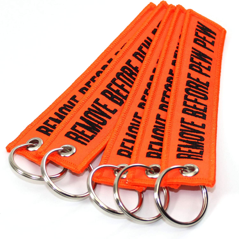 Neon Orange//Black 5 Pack Key Chains Rotary13B1 Remove Before PEW PEW