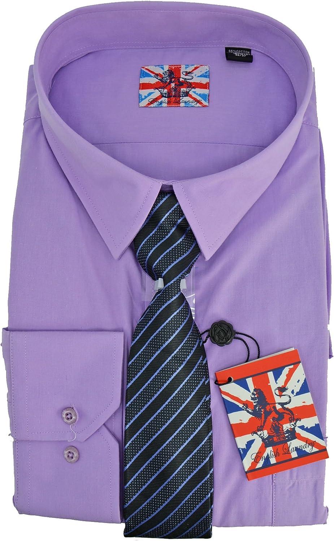 English Laundry Dress Shirt Tie Combo Slim Fit Purple 17 34//35