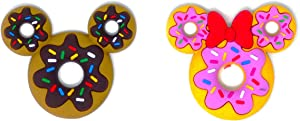 Mickey Mouse Donut and Minnie Mouse Donut Soft Touch Kitchen Refrigerator Magnet (2 Pack)