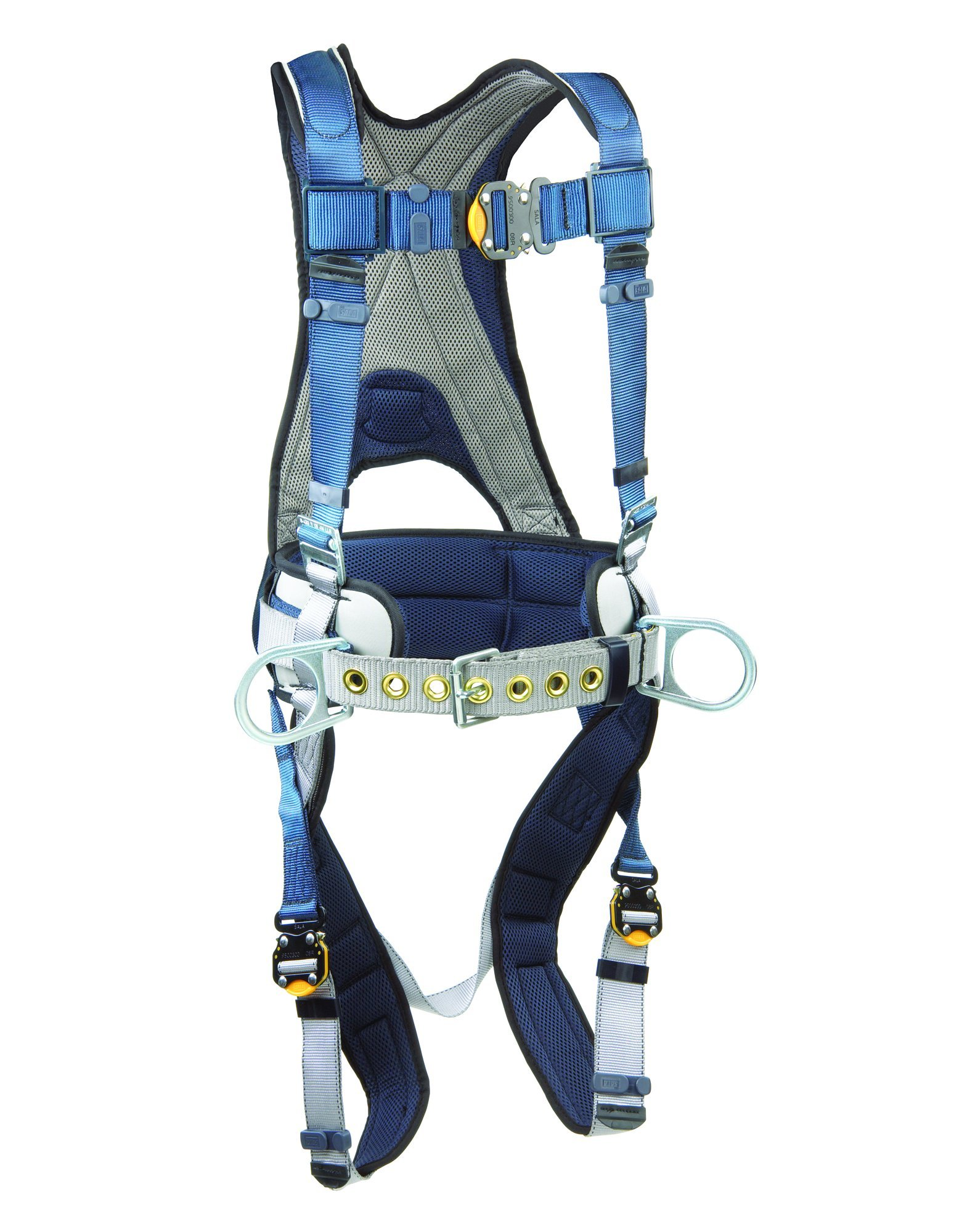 3M DBI-SALA ExoFit 1108500 Construction Harness, Back D-Ring, Sewn-In Back Pad & Belt w/Side D-Rings, Quick-Connect Buckles, Small, Blue/Gray by 3M Fall Protection Business (Image #1)