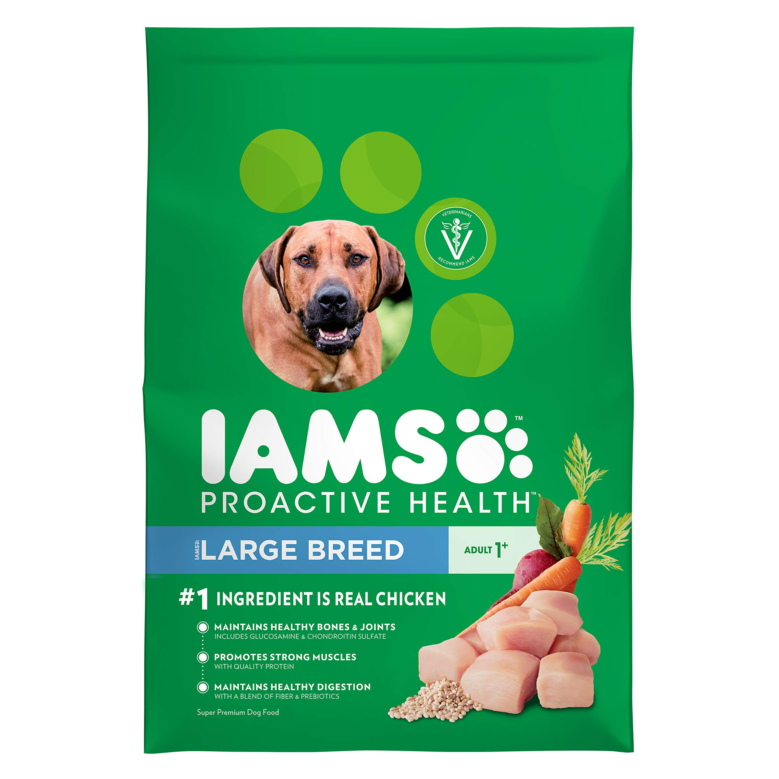 IAMS PROACTIVE HEALTH Adult High Protein Large Breed Dry Dog Food with Real Chicken, 30 lb. Bag by Iams
