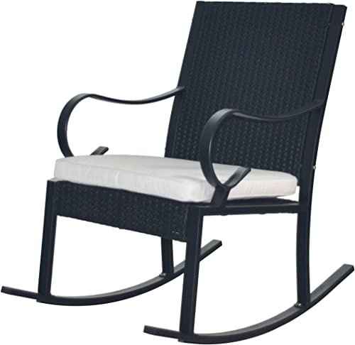 Christopher Knight Home 304345 Muriel Outdoor Wicker Rocking Chair, Black White Cushion