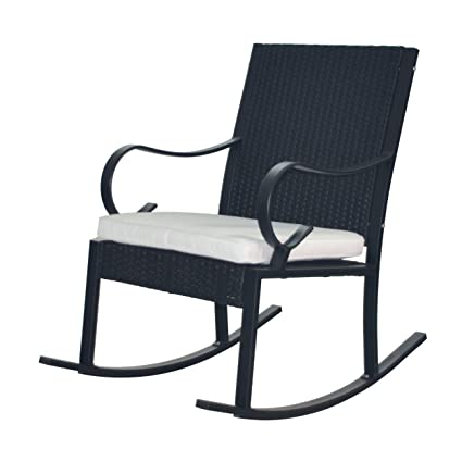 Fantastic Great Deal Furniture 304345 Muriel Outdoor Wicker Rocking Chair With Cushion Black And White Inzonedesignstudio Interior Chair Design Inzonedesignstudiocom