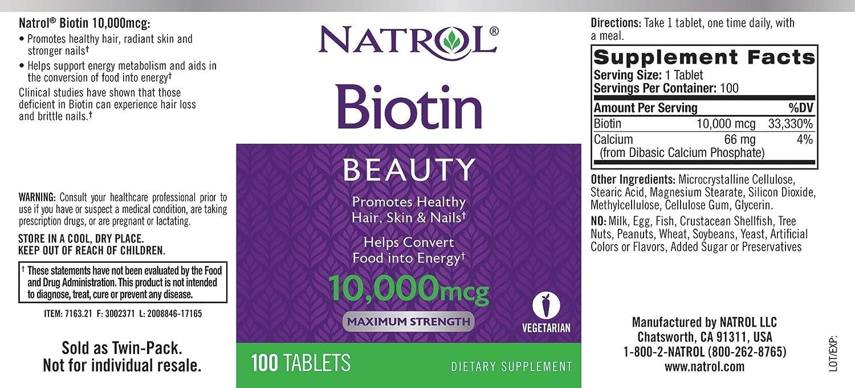 Amazon.com: Natrol Biotin Maximum Strength Tablets, 10,000mcg, 100 Count:  Health & Personal Care