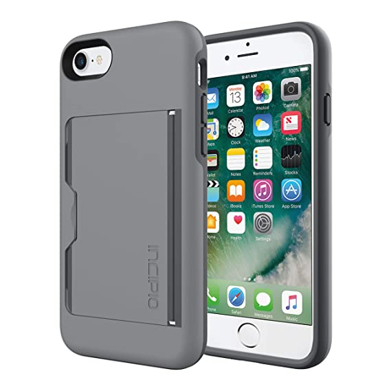 timeless design ae492 9463e Incipio Stowaway iPhone 8 & iPhone 7 Case with Credit Card Slot Holder and  Integrated Stand for iPhone 8 & iPhone 7 - Gray/Charcoal