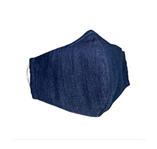 USA Cloth Face Mask, Double Layers with Filter Pocket and Nose Wire Bridge, 100% Cotton Washed Light Denim, Reusable & Washable - Made in USA