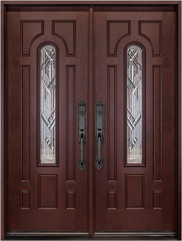 Fiberglass Exterior Door Prehung 12X36X12X80 Front Entry Door Right Hand in-Swing Door with Sidelites Pre-Finished Dark Mahogany Stained Door