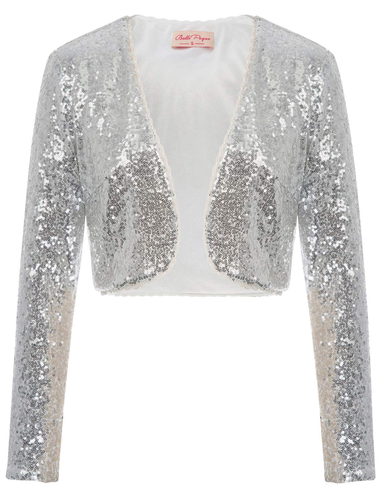 Lady Sequined Bolero Jackets for Wedding(L,Silver)