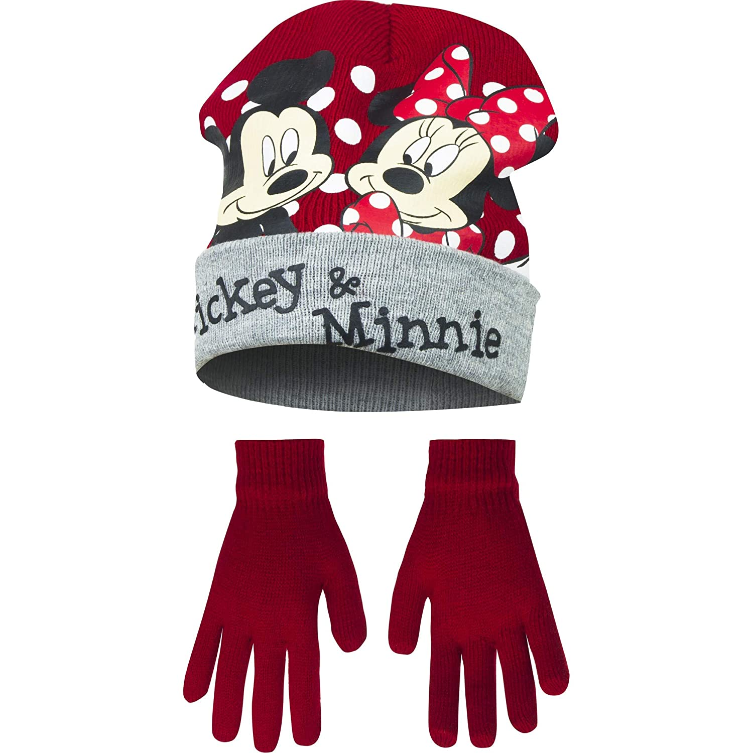 Disney Minnie Mouse Childrens Girls Mickey & Minnie Winter Hat Gloves Set