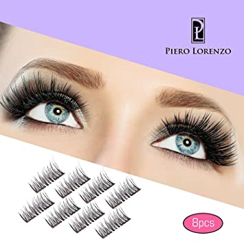 8x Magnetic Eyelashes Glue-free 3D Reusable Dual Magnet Premium Quality Natural Look Best False