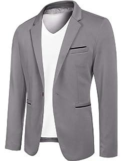 Amazon.com: GAESHOW - Chaqueta blazer para hombre con dos ...