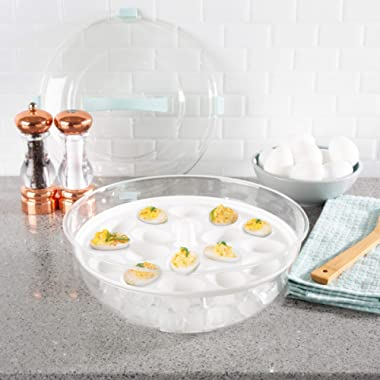 Classic Cuisine Cold Appetizer Tray-4-in-1 Chilled Platter with Ice Compartment, Lid-Multiuse Bowl, Deviled Egg, 3 Section Carrier Serving Dish