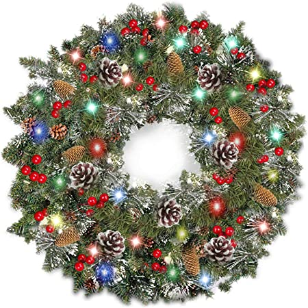 Christmas Wreath and Garland Prelit with Fiber Optic LED Lights Green Color Decorated Wreath//Battery, 16in