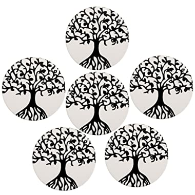 Coasters for Drinks, WarmHut Set of 6 Absorbent Stone Coaster with cork backing, Protect Furniture from Damage, Spills and Scratches, Ideal Housewarming Gift (Tree of Life, Round)