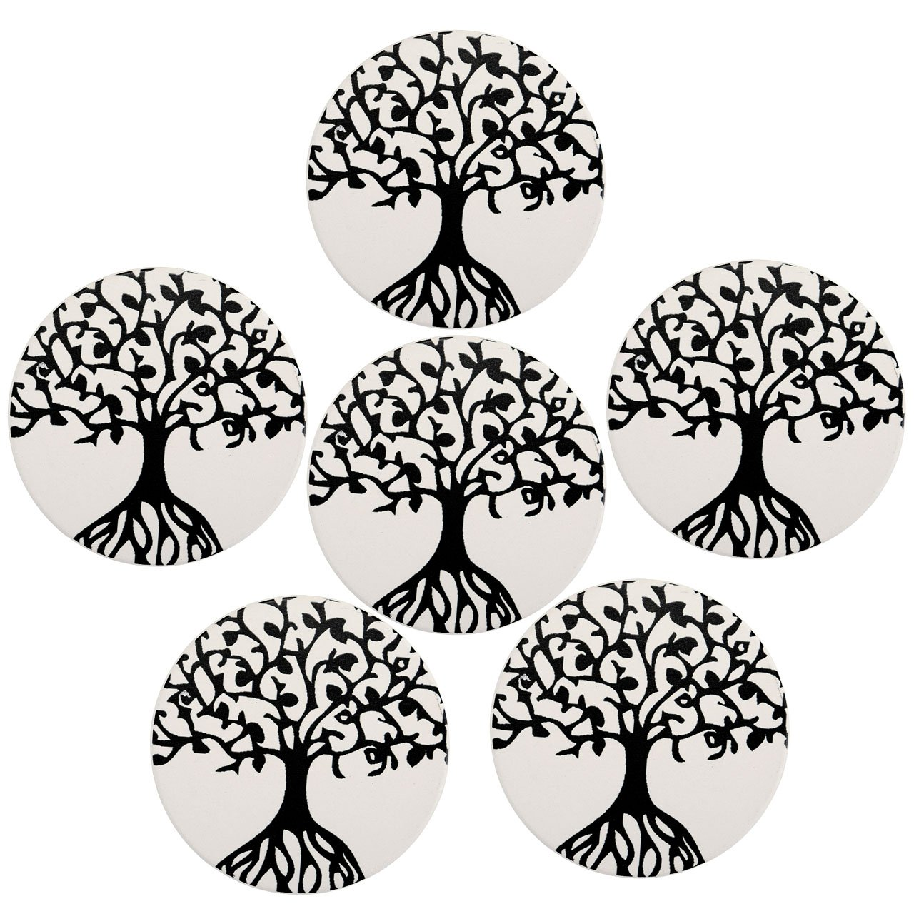 Set of 6 Ceramic Coasters, WarmHut Absorbent Stone Coaster for Drinks, Desktop Protection Prevent Drink Spills Place Mats, Non-Skid Special Decoration Coasters(Round, Tree of Life)