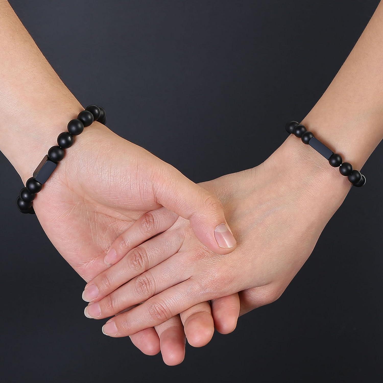 Jovivi Bracelet Couple en Pierre Agate Noire Matte avec Rectangle Gravure Personnalis/ée Perles dEnergie Pierre Pr/écieuse Extensible Elastique Tib/étain Bouddhiste