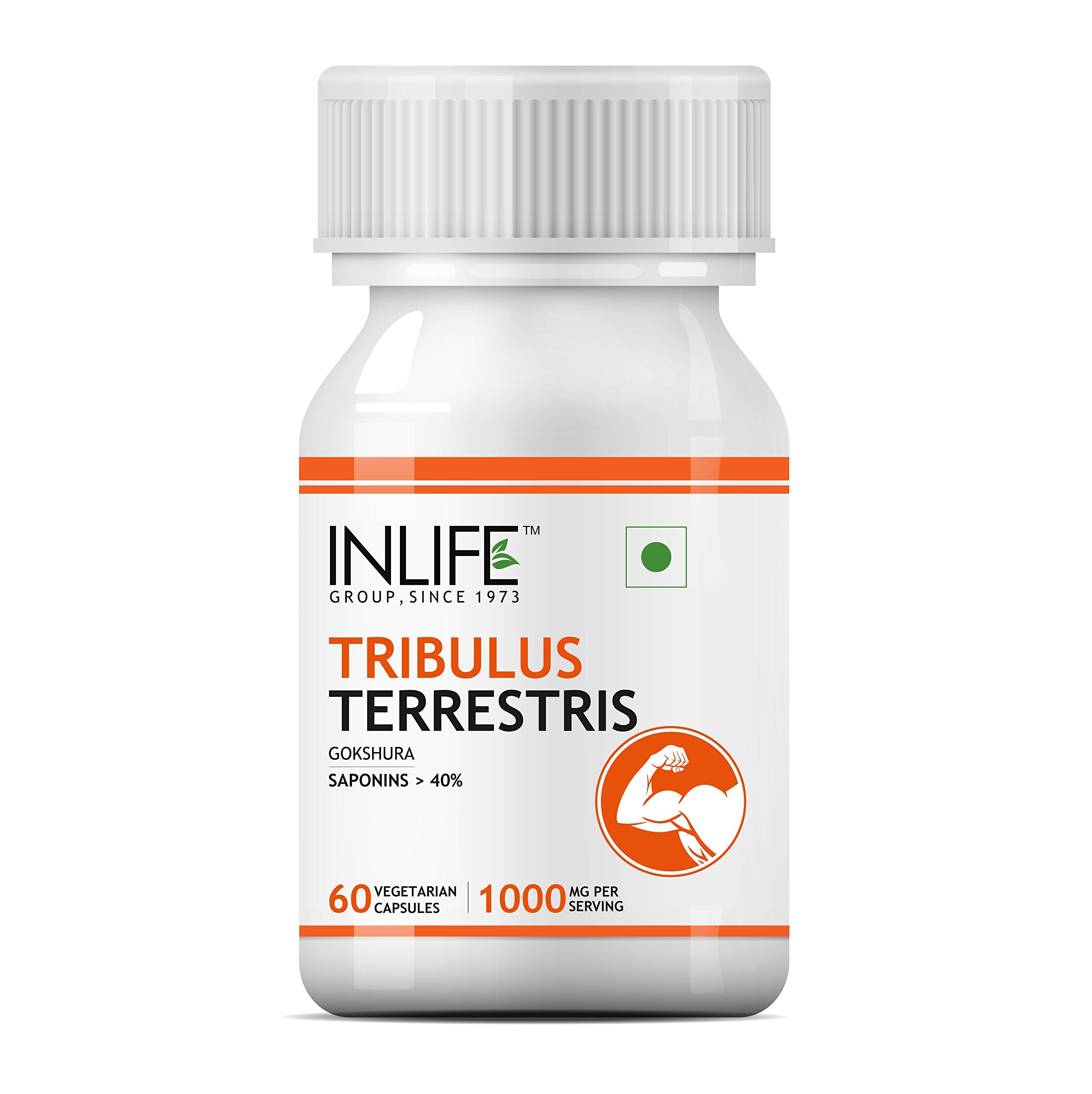 Inlife Tribulus Supplement, Saponins > 40%, 1000 Mg per Serving - 60 Vegetarian Capsules