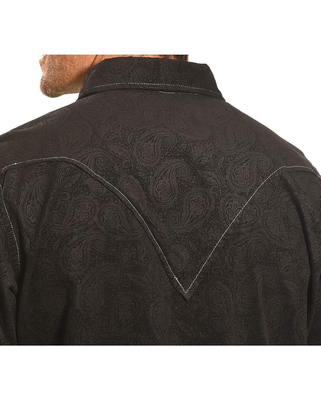 Ryan Michael Men's Embossed Paisley Western Shirt Black Large