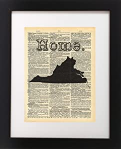 Virginia State Vintage Map Vintage Dictionary Print 8x10 inch Home Vintage Art Abstract Prints Wall Art for Home Decor Wall Decorations For Living Room Bedroom Office Ready-to-Frame