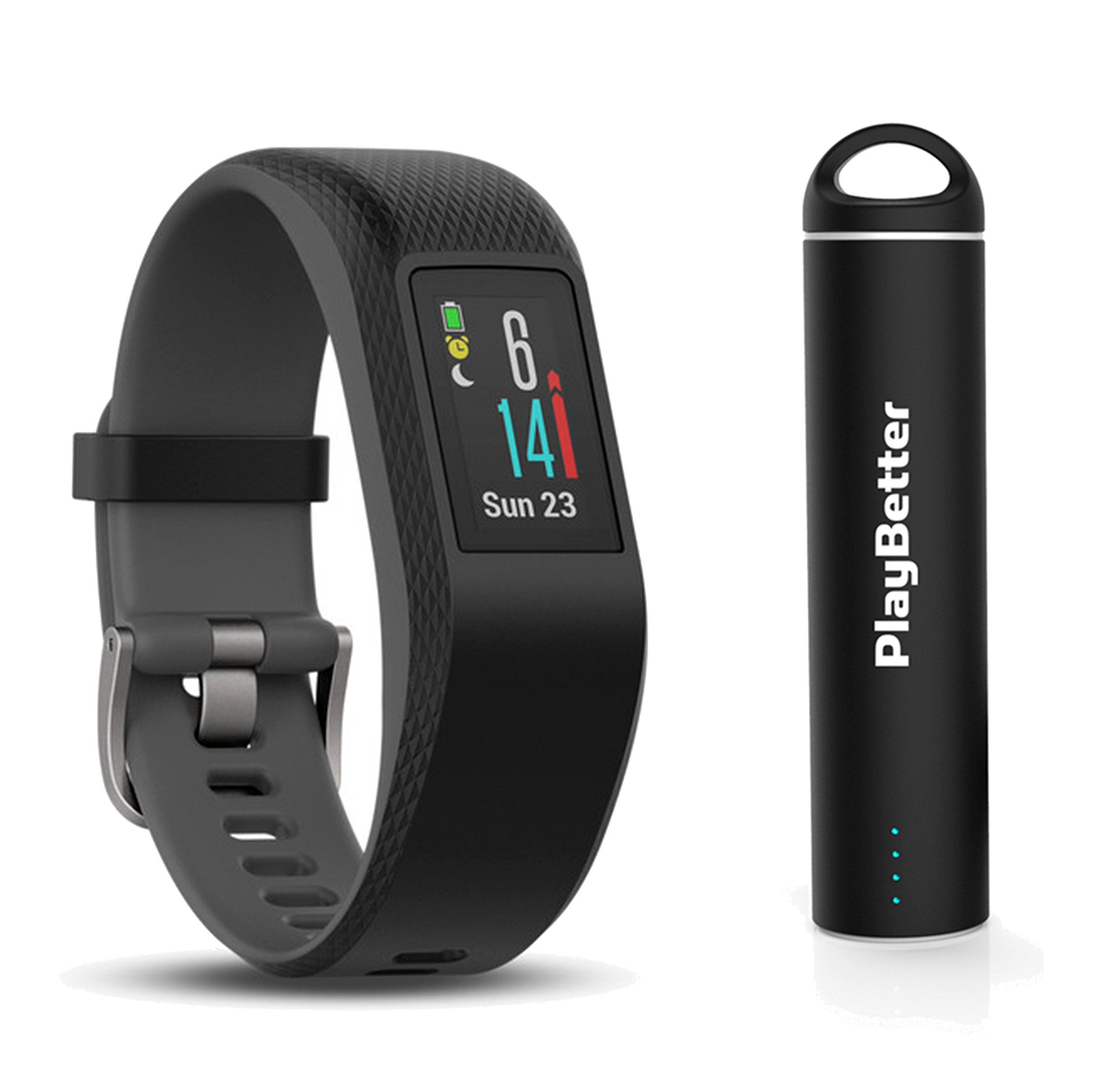 Garmin vivosport (Slate, Small/Medium) Bundle with PlayBetter Portable Power Bank (2200mAh) | On-Wrist Heart Rate, 24/7 Activity Tracker, Color Display | GPS Fitness Band